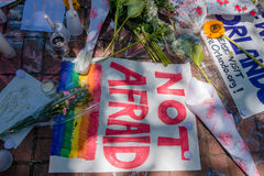 ORLANDO, USA - MAY 05, 2017: Place where Omar Mateen, killed 49 people and wounded 53 others in a terrorist attack hate. Crime in a gay nightclub in Orlando Royalty Free Stock Images