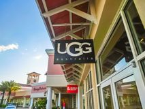 Orlando, USA - May 8, 2018: UGG store at store in shopping mall Orlando premium outlet at Orlando, USA. Orlando, USA - May 8, 2018: UGG Australia store at store royalty free stock images