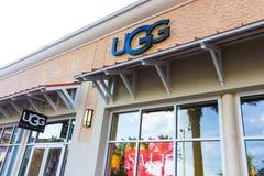 Orlando, USA - May 8, 2018: UGG store at store in shopping mall Orlando premium outlet at Orlando, USA. Orlando, USA - May 8, 2018: UGG Australia store at store stock image
