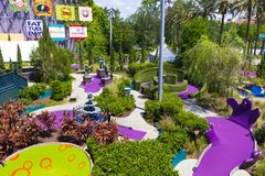 Orlando, USA - May 8, 2018: The Universal City Walk is the mall at the entrance of the Universal Studios Orlando. USA on May 8 Royalty Free Stock Photography