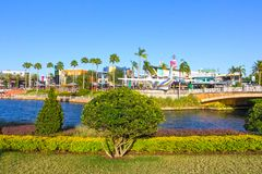 Orlando, USA - May 9, 2018: The Universal City Walk is the mall at the entrance of the Universal Studios Orlando. USA on May 9, 2018 Royalty Free Stock Photos