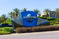 Orlando, USA - May 8, 2018: The Universal logo globe on May 9, 2018. Orlando, USA - May 8, 2018: The lUniversal logo globe on May 8, 2018. Universal Studios is Stock Photo