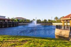 Orlando, USA - pond near shopping mall. Orlando, USA - pond and fountain near shopping mall Royalty Free Stock Photography