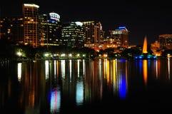 Orlando van de binnenstad bij Nacht Stock Foto