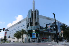 Orlandos hem för tecken för Amway mitt av Orlando Magic Arkivbild