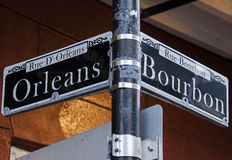 Orleans and Bourbon Streets Sign in New Orleans Royalty Free Stock Images