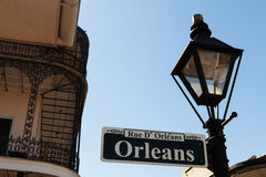 Orleans street sign. In the French Quarter in New Orleans, Louisiana royalty free stock photo