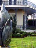 Orleans Trellis. Corn stalk fence, antebellum home with trellis Royalty Free Stock Photo