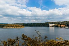 Orlik castle on bank of Vltava river. South Bohemia. Royalty Free Stock Images