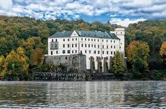 Orlik castle. Castle Orlik under Orlik dam royalty free stock photography