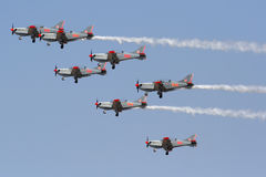 ORLIK Polish Air Display Team. Polish Aerobatics Team ORLIK doing an Air Show in Greece stock photo