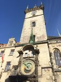 Orloj, Dziejowy ?redniowieczny astronomiczny zegar, Stary urz?d miasta, Praga, republika czech obrazy royalty free