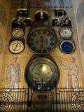 Orloj kalenderklocka i staden Olomouc, Tjeckien fotografering för bildbyråer