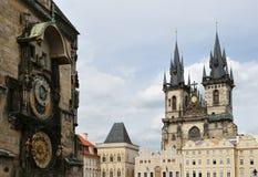 Orloj und Kirche der Mutter des Gottes Stockfotografie
