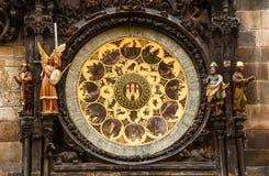 Orloj Zegarowy Praga, Republika Czech Obrazy Royalty Free