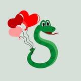 Orm med ballonger Arkivbild