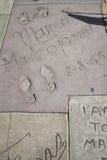 Orma cinese della mano delle celebrità del teatro di Hollywood Fotografie Stock