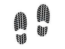 Orma con l'impronta delle gomme Immagine Stock
