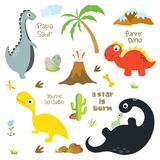 Orma del dinosauro, palma, del vulcano, pietre, osso e cactus royalty illustrazione gratis