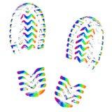 Orma delle scarpe, vettore isolato della siluetta Sola impronta della traccia illustrazione di stock