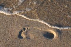 Orma ed onda sulla spiaggia. Immagine Stock Libera da Diritti
