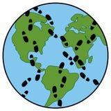 Orma globale su ecologia della terra Immagini Stock Libere da Diritti
