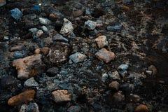 Orma su una strada rocciosa Immagine Stock
