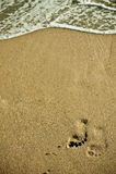 Orma sulla spiaggia Fotografia Stock Libera da Diritti