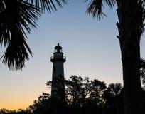 Ormbunksblad som inramar Sten Simons Island Lighthouse royaltyfri bild