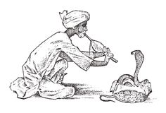 Ormcharmör mannen som spelar flöjten för, hypnotiserar kobra i Indien Taskspeleri pungi för huggormar dragen hand och vektor illustrationer