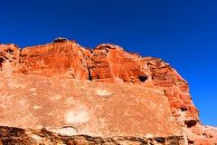 Orme del dinosauro nelle rocce rosse di Moab Utah immagine stock libera da diritti