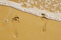 Orme nella sabbia. Fotografia Stock