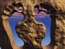 Orme nella roccia Fotografie Stock