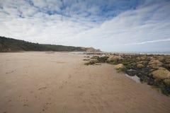 Orme nella vista sul mare della sabbia Immagini Stock Libere da Diritti