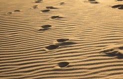 Orme su una sabbia Fotografia Stock Libera da Diritti