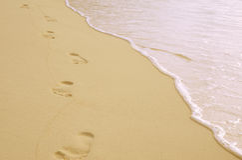 Orme sulla sabbia Fotografia Stock Libera da Diritti