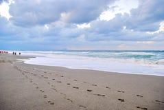 Orme sulla spiaggia Fotografia Stock Libera da Diritti