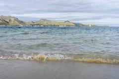 Orme sulla spiaggia dell'isola di Ibiza in Spagna, la festa ed in Unione Sovietica Immagine Stock
