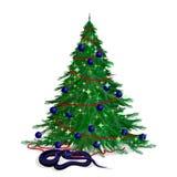 Ormen och den festliga firen-tree Royaltyfri Fotografi