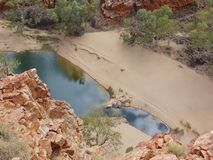The Ormiston gorge in the Mcdonnell ranges. The water hole of Ormiston gorge in the West Mcdonnell ranges in the Northern Territories in Australia stock image