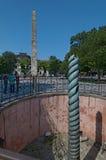 Ormkolonn och obelisk av Theodosius Arkivfoto