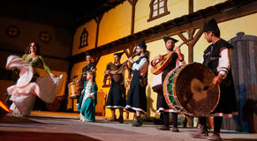 Ornalusa performing in Medieval Market of Obidos Royalty Free Stock Image