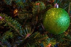 Ornamanet verde efervescente na árvore de Natal Fotos de Stock