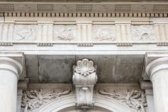 Ornamanted Wall With Columns and Flower Details Royalty Free Stock Image