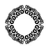 Ornamement floral preto no formulário do círculo Fotografia de Stock Royalty Free