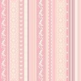 ornamenral rosa randig wallpaper Arkivbild