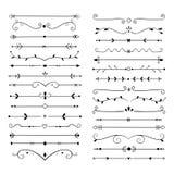 Ornamentów dividers Teksta rocznika projekta kreskowy element, ślubni dekoracja oddzielacze Retro rysujący książkowy ornamentacyj ilustracji