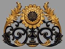 Ornamentów elementy, roczników złociści kwieciści projekty Obrazy Stock