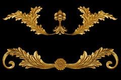 Ornamentów elementy, roczników złociści kwieciści projekty Obraz Stock