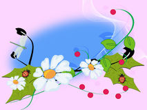 Ornament. Colorful year flowerses and insect -an illustration Royalty Free Stock Images